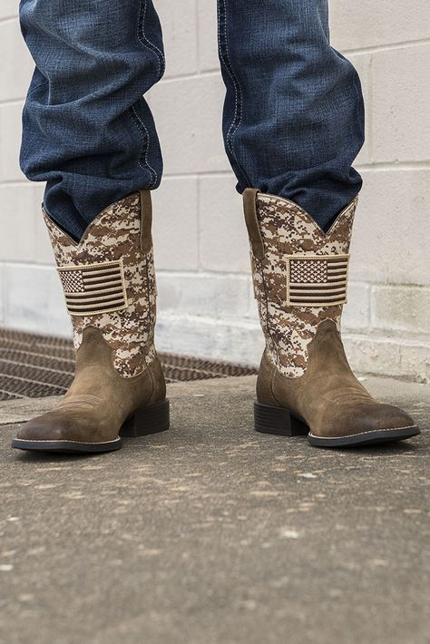 6bd1468bdb3 Ariat Men s Patriot Mocha with Sand Camo Upper and American Flag Patch  Western Square Toe Boots
