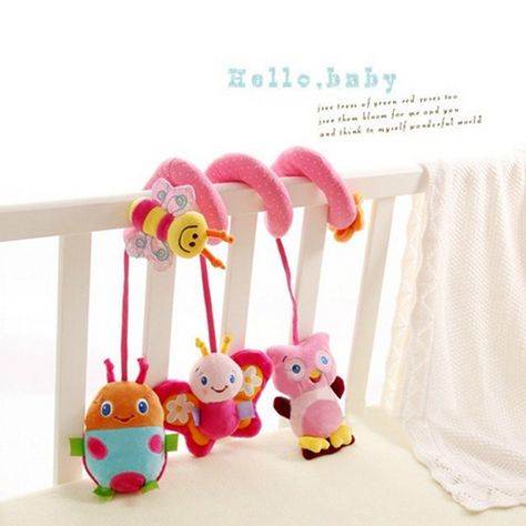 Baby Crib Cot Pram Hanging Rattles Spiral Stroller Bed Pushchair Music Box Toy