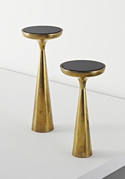 Fontana Arte, polished brass with colored glass side tables, model no. 2221, 1960s.