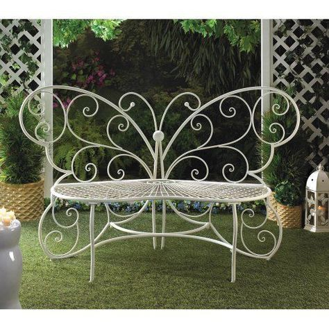 Ornate White Metal Butterfly Indoor/Outdoor Patio Bench #HomeLocomotion