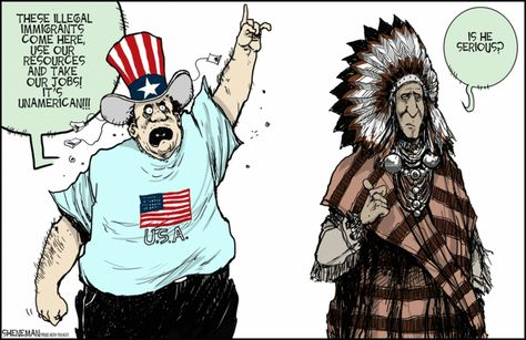 This comic shows the irony of Americans complaining about immigration, since they were a major immigration issue for the Native Americans.