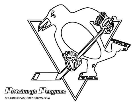 Nhl Worksheets For Kids Penguins Logo Colouring Pages Penguin