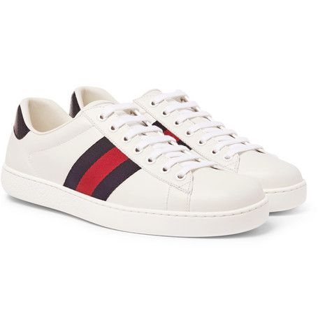 GUCCI ACE WATERSNAKE,TRIMMED LEATHER SNEAKERS , WHITE