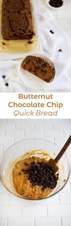 Butternut and Chocolate Chip Quick Bread #bread #quickbread #butternut #chocolatechips #abeautifulmess