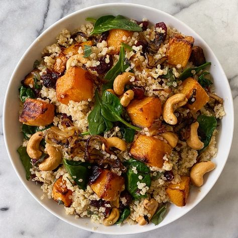 Quinoa Salad with Roasted Squash, Caramelized Onions and Wilted Spinach