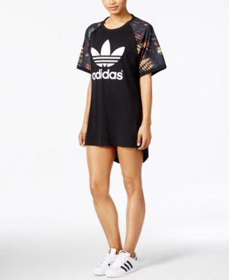 adidas Originals Colorblocked Draped-Back T-Shirt Dress - Dresses ...