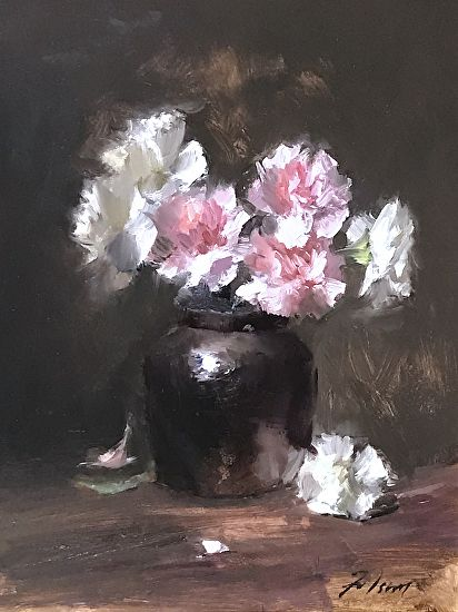 Pink And White Carnations Flower Painting Flower Art Art