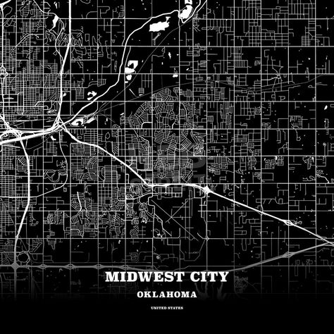 Black map poster template of Midwest City Oklahoma USA