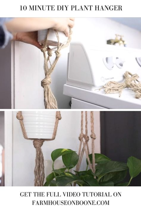 This simple DIY plant hanger is perfect for spring. It costs less than $2 and takes 15 minutes to make. Whip up several to put near every window in your home.