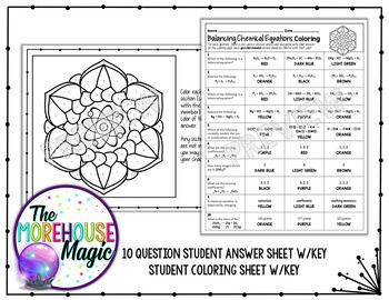 Balancing Chemical Equations Science Color By Number or Quiz ...