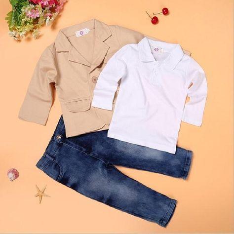 3pcs Kids Boys Handsome Gentleman Clothing Coat+Shirt+Pants Jeans Child Outfits