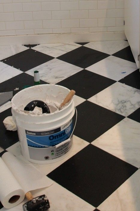Review Seriously neat seriously hard work This couple built their own granite marble checkerboard tile floor kitchen Pinterest Unique - Review black granite tile Ideas