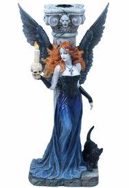 10 75 Inch Gothic Angel w Black Cat Candle Holder Dark Figure Statue