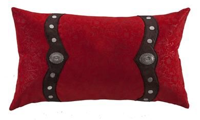 Odessa Western Red Oblong Pillow with