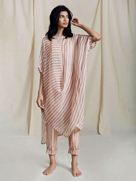 Buy Peach Handloom Mulmul Striped Cowl Tunic with Short Slip Cotton Pants - Set .