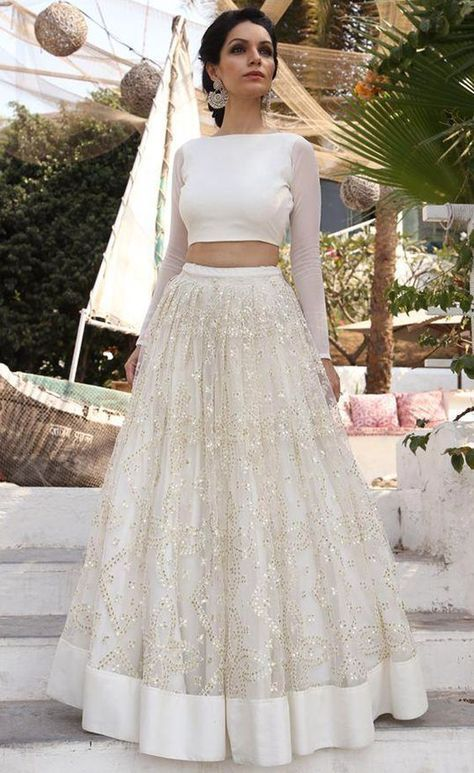 569f04858a82c Two Piece Bateau Long Sleeves Simple White Prom Dress with Sequins ...