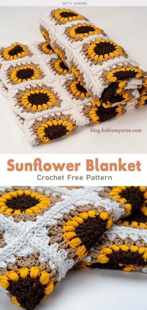 The Sunflower Blanket Free Crochet Pattern The Sunflower Blanket Free Crochet Pattern,Blanket / Pillow /lovely Crochet The Sunflower Blanket Free Crochet Pattern yoda crochet pattern amigurumi yoda knitting pattern crochet pattern Crochet Afghans, Crochet Blanket Patterns, Knitting Patterns Free, Free Pattern, Free Knitting, Free Easy Crochet Patterns, Crochet Square Patterns, Finger Knitting, Scarf Patterns