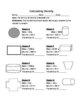Calculating Density Worksheet Density Worksheet Worksheets