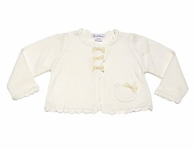 c1f03ccd64a Sarah Louise Girls Ivory Cardigan Sweater Bolero with Scallops and Bows