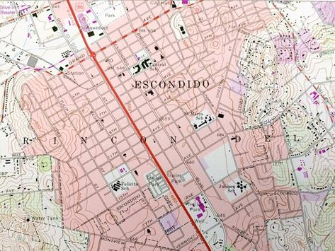 Antique Escondido California 1968 Us Geological Survey Topographic