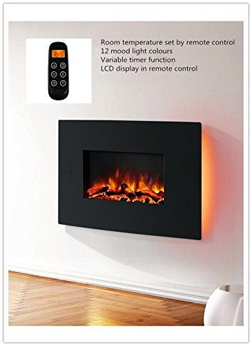 Egton Wall Mounted Electric Fire Black Curved Glass 1 2kw