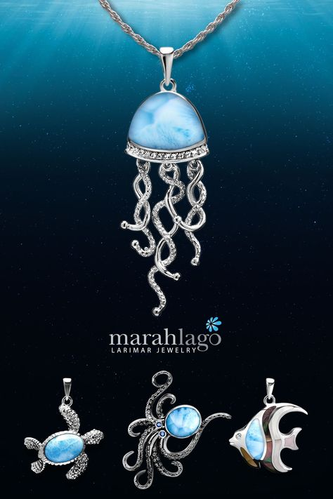 sea life jewelry, sealife necklace, jellyfish pendant, larimar jewelry, turtle necklace, sea turtle pendant, octopus jewelry, fish necklace, angelfish pendant, fish jewelry, nautical jewelry Unusual Jewelry, I Love Jewelry, Jewelry Art, Metal Clay Jewelry, Nautical Jewelry, Animal Jewelry, Timeless Elegance, Dominican Republic, Personalized Jewelry