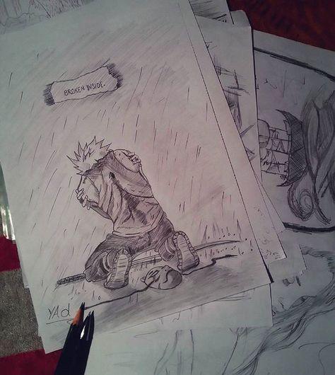 kakashi part 1 of 6 naruto kakashi art artist manga sketching sketch draw drawing anime kakashi painting paint brokeninside sad lonley by
