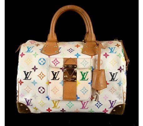 2ae84ba67e2a Louis Vuitton White Multicolor Monogram Canvas Speedy 30 Bag ...