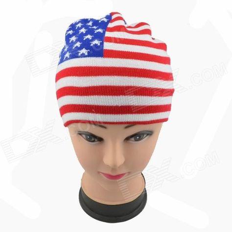 Chapéu em tricô com padrão da bandeira EUA Branco + Vermelho + Azul