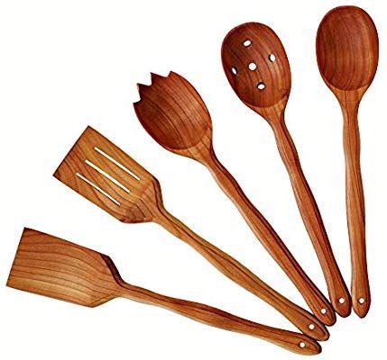 Amazon Com Handmade Utensil Set Wooden Cute Kitchen Utensils Set 14 35 Cm Cherry Wood Kitchen Supp Cute Kitchen Utensil Set Kitchen Utensil Set Utensil Set