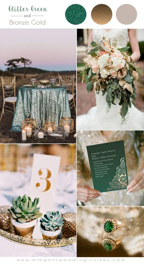 f7870b8eb9f3 7 Classic Metallic Theme Wedding Colors with Glittery Invitations ...