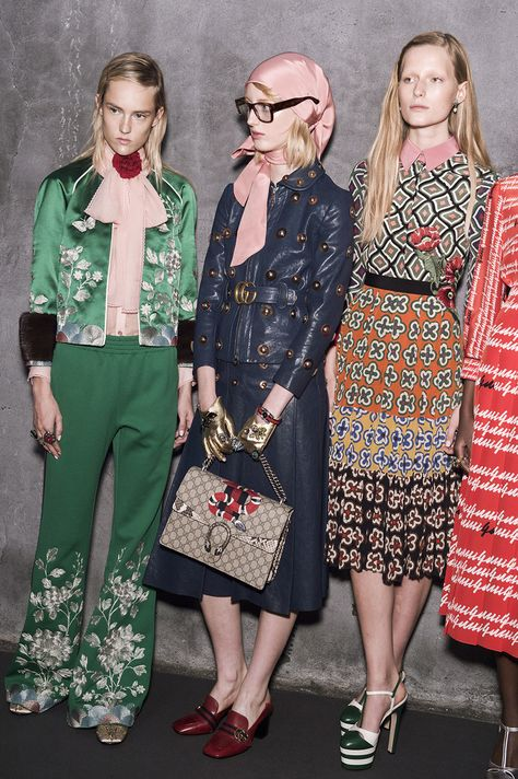 On the first day of Milan Fashion Week, Alessandro Michele proved that his new world at Gucci has no borders. THAT GREEN SET!