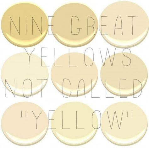9 of the 10 most popular Benjamin Moore Yellows: Concord Ivory, desert Tan, Hemplewhite Ivory, Mannequin Cream, Montgomery White, Philadelph...