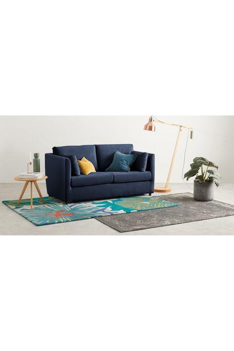 Made Regal Blue Velvet Sofa Bed