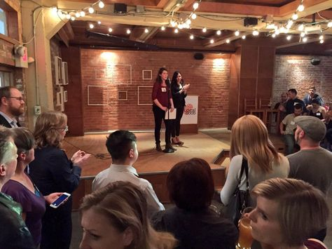 Green Drinks: Local Resilience (April 2016) recap with storify | The Local Good | Green Drinks Coordinators Kerstyn and Leila speak to a packed house of environmentally-minded Edmontonians at the Yellowhead Brewery. Photo: Jason Halbauer | #yegevents #greendrinksyeg