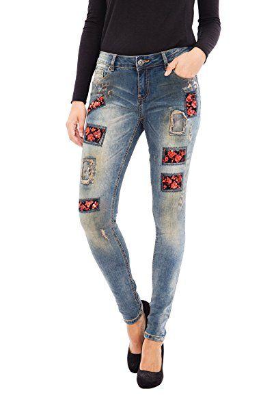 BLUE MONKEY Skinny Jeans mit Pailletten Patches und Druck