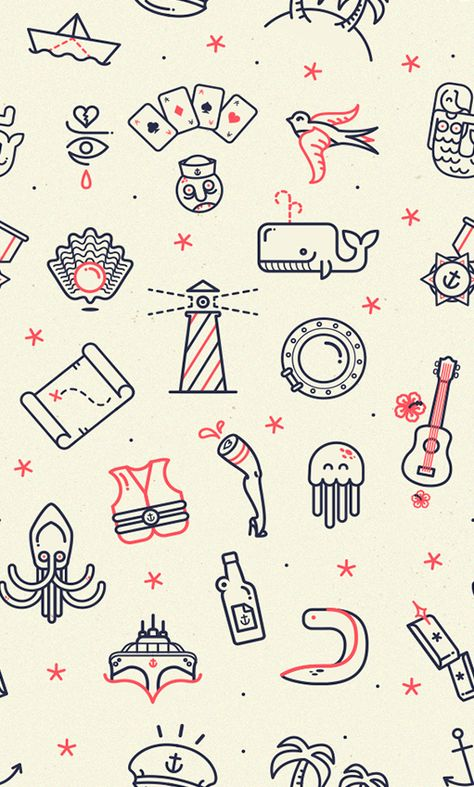 Iconography Octopus Lighthouse Whale Map Guitar Paper ship Cards Icon pattern