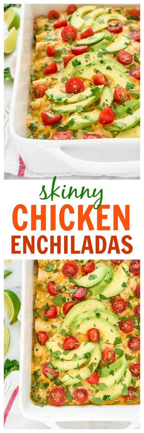 This simple and healthy recipe for Creamy Chicken Enchiladas is the BEST! Easy to make, freezer-friendly, and lightened up with everyday ingredients. Your whole family will LOVE this recipe! www.wellplated.com