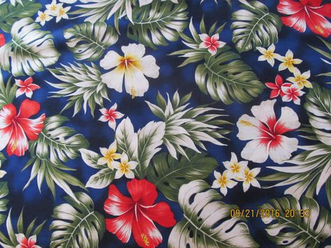 Marianne of Maui Hawaiian Quilting Fabric Navy by Marianneofmaui ... : hawaiian quilting fabric - Adamdwight.com