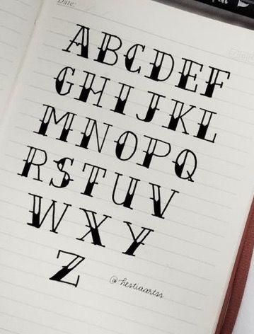 Alphabet Hand Lettering Ideias De Letras Ideias Para Cadernos