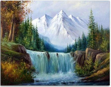 Snow Mountain Waterfall Landscape Paint By Numbers In 2020 Waterfall Landscape Landscape Paintings Landscape