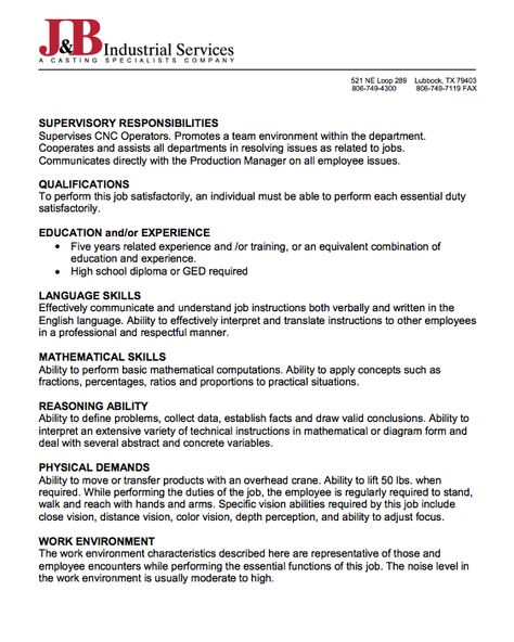 Sample Of Job Description Of CNC Programmer -    resumesdesign - plant inspector resume