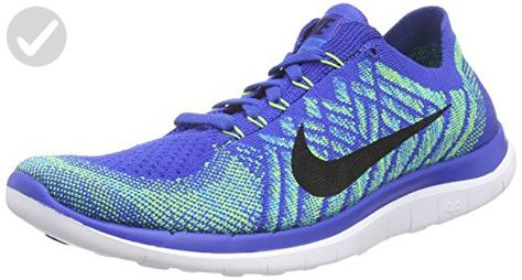 8919843f19eedd Nike Mens Free 4.0 Flyknit Game Royal Photo Blue Jade 717075-400 Running  Shoes