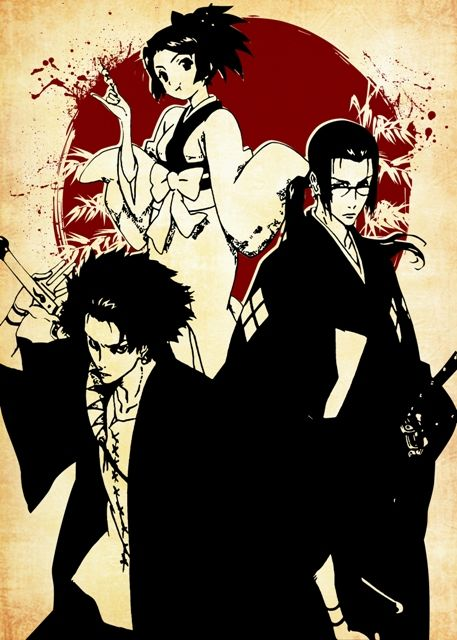 Samurai Champloo Red Moon Poster Print By Fujiwara Displate Samurai Champloo Samurai Art Samurai
