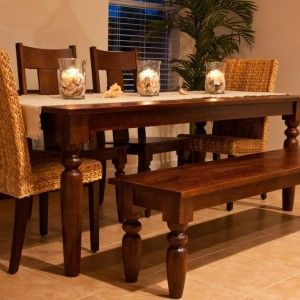Simple Dining Room Set Design Ideas with Dark Brown Wooden Bench