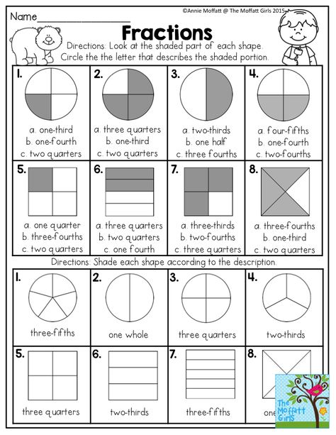 Fractions Look At The Shaded Part Of Each Shape And Circle The Correct Answer Fun Math Act Fractions Worksheets Math Fractions Worksheets 3rd Grade Fractions