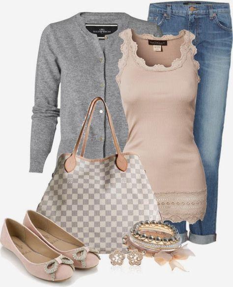 Casual Outfits | Pretty in Pink and Gray Rosemunde Viktoria top, Malene Birger Henria cardigan, Aidan Boyfriend jeans, Louis Vuitton bag by happygirljlc #LVbags #LouisVuitton #Handbags #Fashion