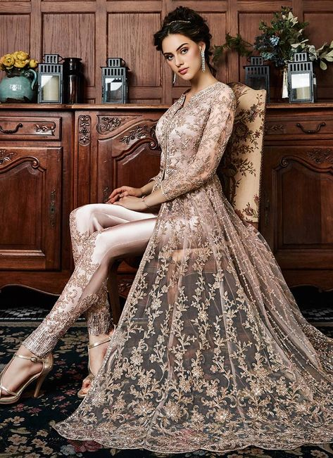 Buy Beige Embroidered Anarkali Suit online, SKU Code: SLSCC4530. This Beige color Party anarkali suit for Women comes with Embroidered Net. Shop Now!