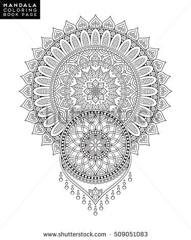 mandala vector floral flower oriental coloring book page outline - book outline template