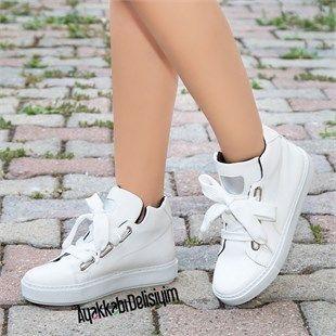 Lasli Beyaz Bilekte Spor Ayakkabi Sneaker Bayan Ayakkabi Ayakkabilar